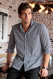 Mens Black Gingham Dress Shirt